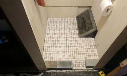Skoolie Bathroom Tile Job