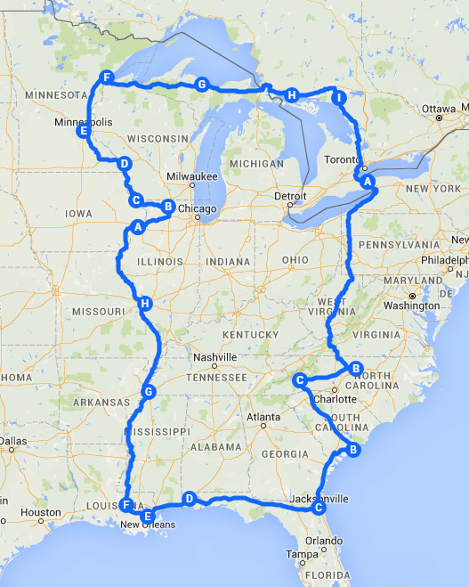 Motorcycle Route Around the USA